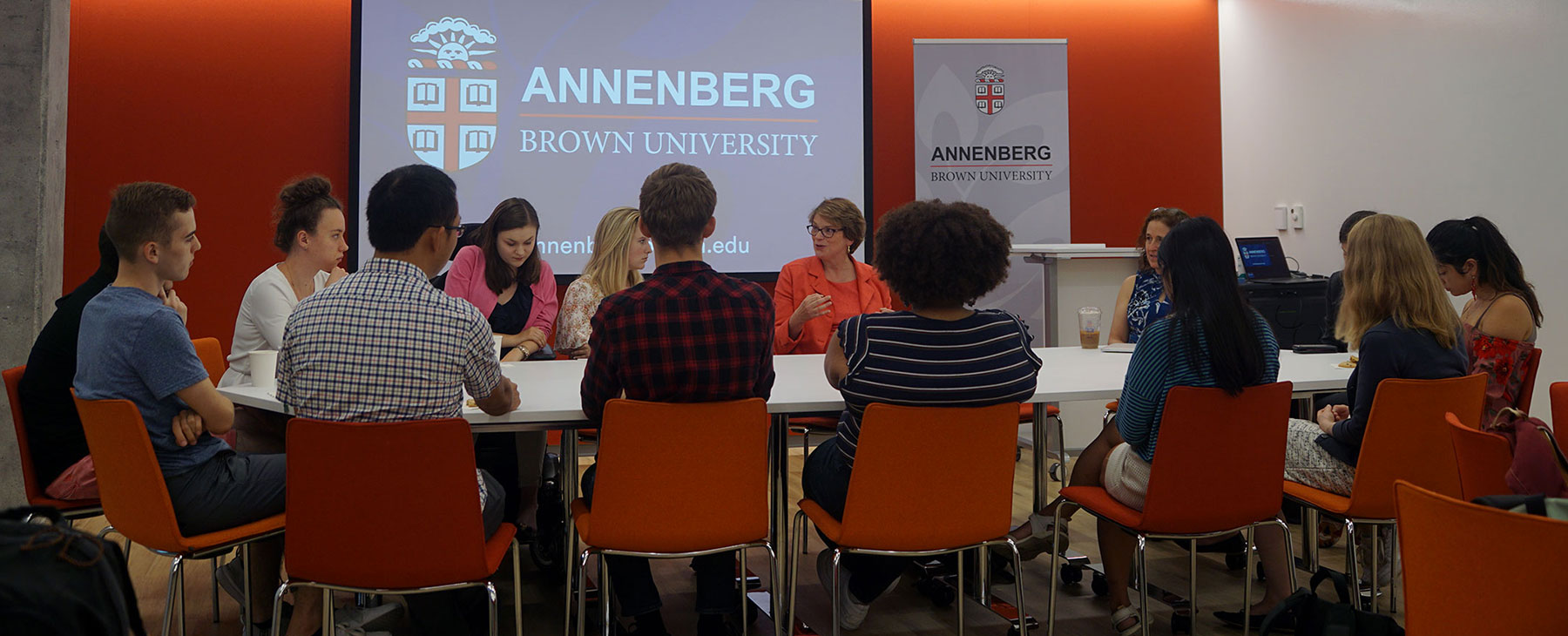 President Paxson speaking to Annenberg Undergrad Fellows